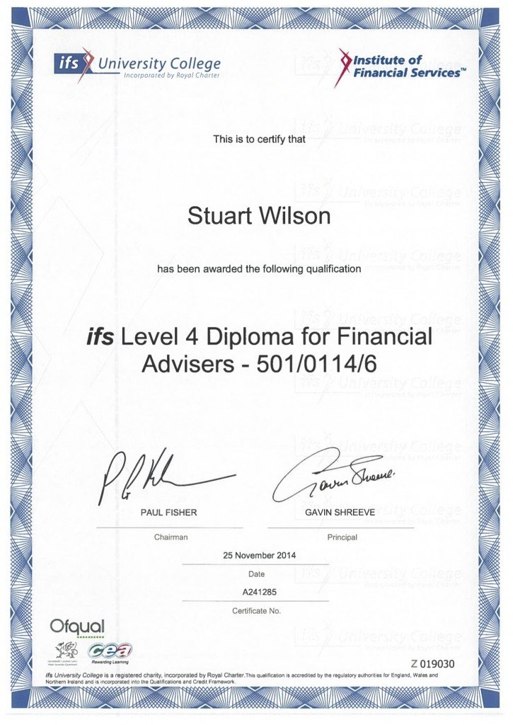Stuart Wilson DipFA Certificate